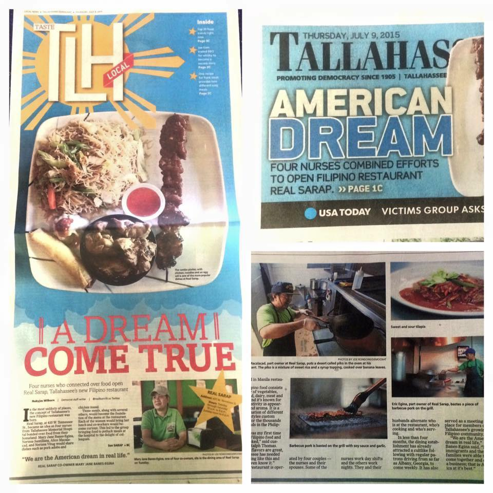 REAL Sarap made it to the front page of Tallahassee Democrat 07/09/15