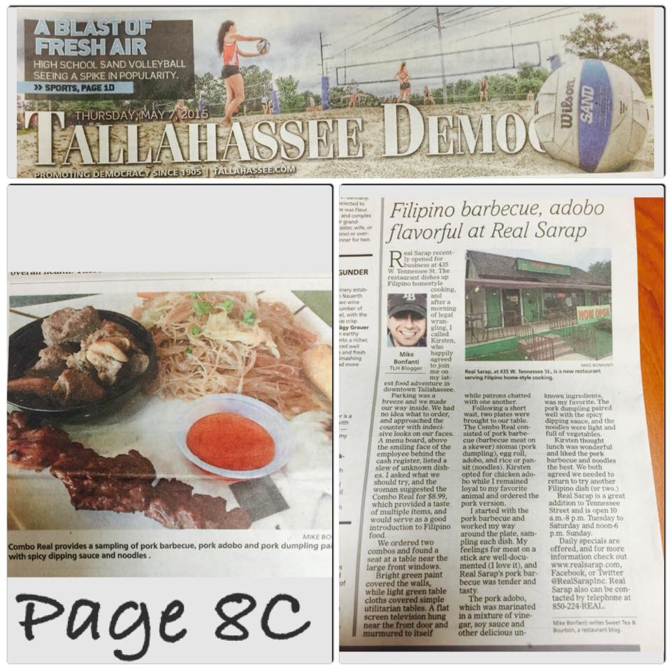 REAL Sarap was featured in Tallahassee Democrat May 7, 2015